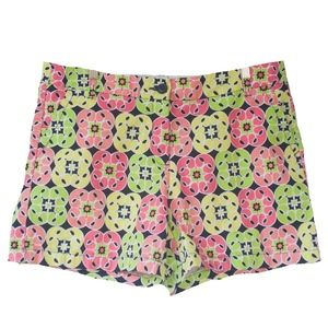 Crown & Ivy 14 Pink & Green Geometric Print Shorts